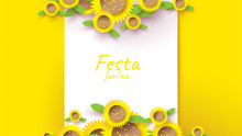 Festa Junina Festival Design On Paper Art And Flat Style With Sunflower For Banner Or Poster Concept . - Vector