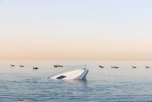 Sinking Modern Large White Boat Goes Underwater