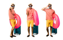 Set Of Man With Hat And Sunglasses On His Summer Vacation Annoyed Angry In Furious Gesture. Negative Expression