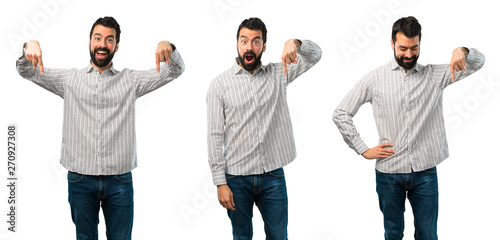 Photo  Collage of Handsome man with beard pointing down