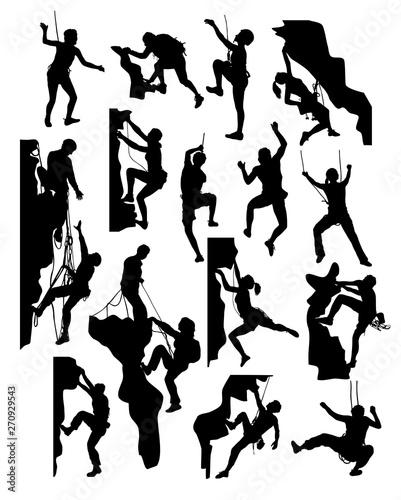 Rock Climber Silhouettes, art vector design Wallpaper Mural