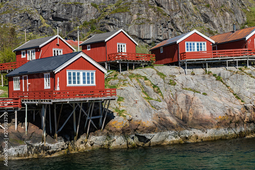 Poster Scandinavie Traditional architecture in Tind fishing village on Lofoten islands, Nordland. Norway.