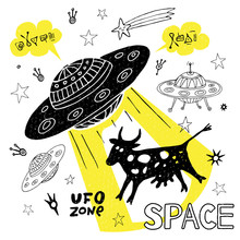 Funny Ufo Abduction Cow Space ...