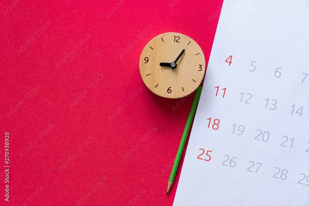 Fototapety, obrazy: close up of calendar, clock and pencil on the red table background, planning for business meeting or travel planning concept