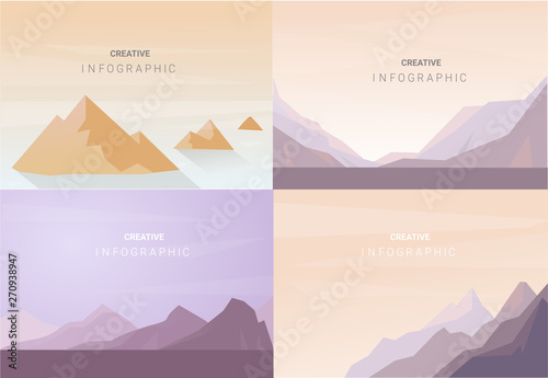 Foto op Plexiglas Wit Abstract landscape set, Vector banners set with polygonal landscape illustration, Minimalist style