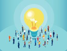 Vector Of Diverse People Brainstorming Big Idea