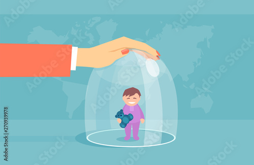 Foto Vector of an overprotective mother keeping a child in a glass dome