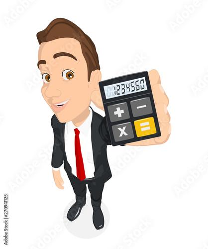 businessman holding calculator - 270941125