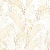 Tropikalna egzotyczna kwiecista złota linia palma opuszcza bezszwowego wzór i kwitnie, biały tło. Tapeta egzotycznej dżungli. - 270942911