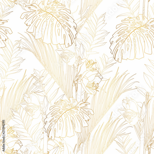 Tropical exotic floral golden line palm leaves and flowers seamless pattern, white background. Exotic jungle wallpaper.  Wall mural