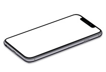 Smartphone With A Blank Screen Lying On A Flat Surface. High Resolution Vector Eps10
