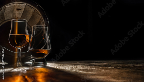 Calvados, digestif, aperitif, cognac - aged in an oak barrel Canvas Print