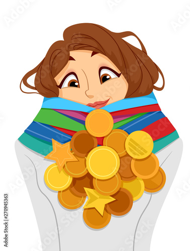 Photo Teen Girl Achiever Medals Illustration