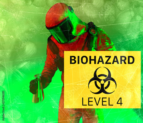 Sign indicating the presence of Biological hazards, biohazards, refer to biological substances that pose a threat to the health of living organisms, primarily that of humans Canvas Print