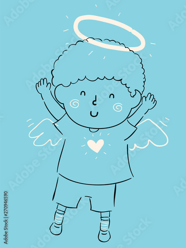 Photo Kid Boy Little Angel Illustration