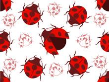 Lady Bug Pattern Seamless Background Illustration
