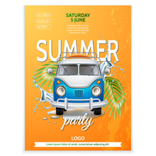 Summer Party Poster, Realistic Retro Bus With Surfboard On Background Of Tropical Leaves And Water Splash. Summertime Banner With Vintage Van, Beach Party Vector Design. Blue 3d Vehicle