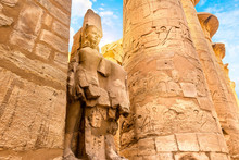 Columns And Statue In Karnak T...
