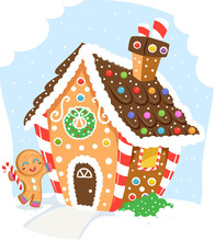 Ginger Bread Man House Illustr...