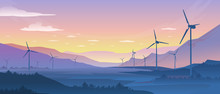 Mountain Ecology Landscape. Sustainable Wind Energy Turbines Silhouette With Pine Forest And Mountains. Vector Realistic Powerful Windmill On Background Nature Sunset