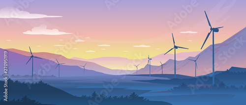 Obraz Mountain ecology landscape. Sustainable wind energy turbines silhouette with pine forest and mountains. Vector realistic powerful windmill on background nature sunset - fototapety do salonu