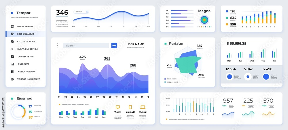 Fototapeta Dashboard UI. Modern presentation with data graphs and HUD diagrams, clean and simple app interface. Vector abstract modern web UI design