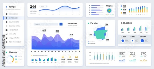 Dashboard UI. Modern presentation with data graphs and HUD diagrams, clean and simple app interface. Vector abstract modern web UI design