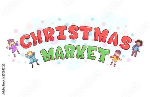 Canvas Prints Textures Stickman Kids Christmas Market Text Design