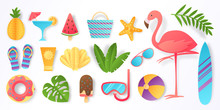 Paper Cut Summer Elements. Trendy Tropical Leaves Pink Flamingo And Beach Stickers. Vector Sun Ice Cream Ball Vacation Travel Icons Flat Illustration