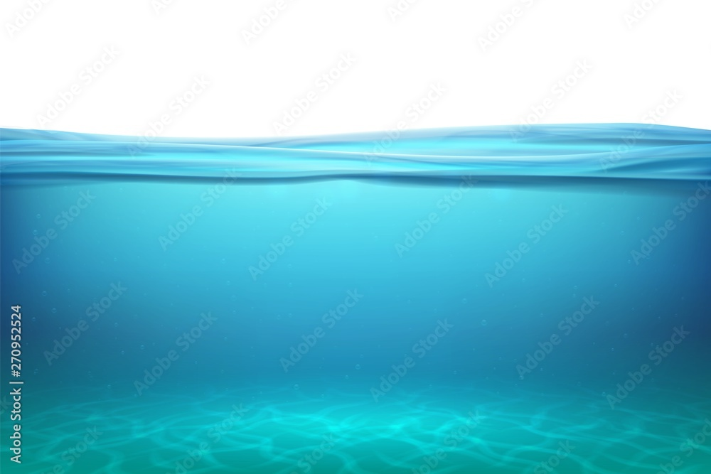 Fototapeta Lake underwater surfaces. Relax blue horizon background under surface sea, clean natural view bottom pool with sun rays. Vector illustration ocean