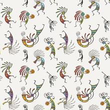 Hand Drawn Kokopelli Seamless Pattern. Stylized Mythical Characters Playing Flutes.