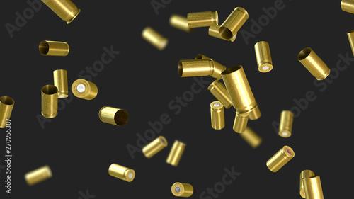 Fényképezés Ammunition cartridge case from a pistol flying through the air - 3d illustration