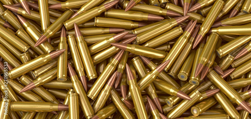 Foto Nato machine gun ammunition cartridges lying on a pile - 3d illustration