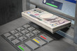 ATM machine and yen. Withdrawing 100 yen banknotes. Banking concept.