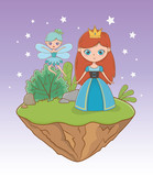 Medieval princess and fairy of fairytale design