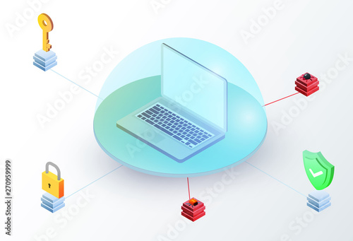 Laptop in glass dome with key, padlock, green shield and virus Canvas
