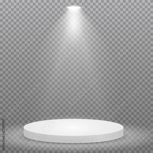Obraz na plátně Round podium, pedestal or platform illuminated by spotlights on transparent background