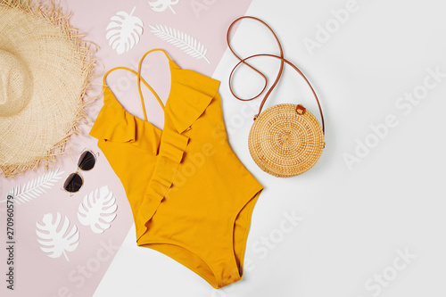 Photo Fashion bamboo bag and sunglass, straw hat and swimsuit
