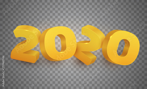 3d realistic vector golden number 2020 on transparent background Canvas-taulu