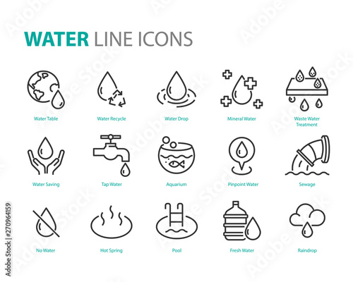 set of water icons ,such as  water drop, treatment, sewage, recycle, fresh, save Fototapete