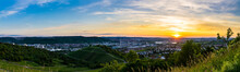 Germany, XXL Panorama Of Romantic Orange Sunset Sky Over Houses Of Beautiful Metropolis City Stuttgart In Valley Between Vineyards From Above