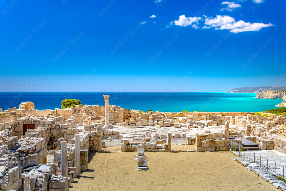 Fototapety, obrazy: Achilles' House Kourio Basilica at The Sanctuary of Apollo at the Kourion World Heritage Archaeological site near Limassol (Lemesos), Cyprus