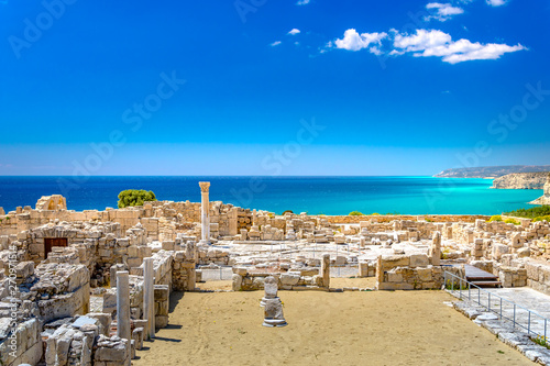 Foto op Aluminium Cyprus Achilles' House Kourio Basilica at The Sanctuary of Apollo at the Kourion World Heritage Archaeological site near Limassol (Lemesos), Cyprus