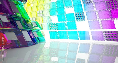 Fototapety, obrazy: Abstract white and colored gradient glasses interior multilevel public space with window. 3D illustration and rendering.