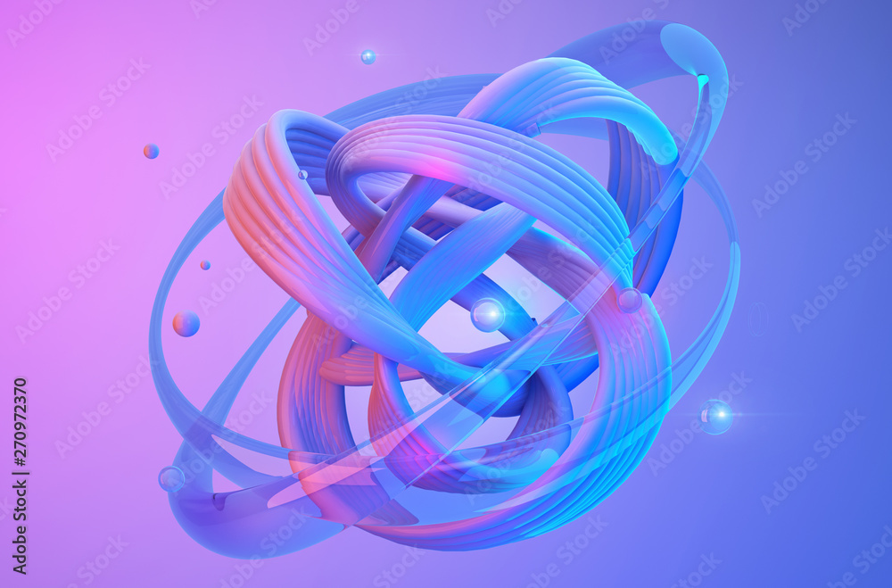 Fototapety, obrazy: Abstract shapes on colorful trendy background. Modern fluid colorful gradient geometric figures in the shape of swirl on gradient background. Design layout for web,banners, flyers, posters. 3d render