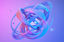 Abstract Shapes On Colorful Trendy Background. Modern Fluid Colorful Gradient Geometric Figures In The Shape Of Swirl On Gradient Background. Design Layout For Web,banners, Flyers, Posters. 3d Render