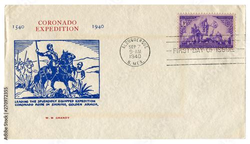Fotografía  Albuquerque, New Mexico, The USA  - 7 September 1940: US historical envelope: co