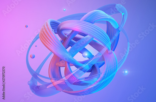 Obraz Abstract shapes on colorful trendy background. Modern fluid colorful gradient geometric figures in the shape of swirl on gradient background. Design layout for web,banners, flyers, posters. 3d render - fototapety do salonu