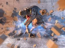 Danger Predator Carnivore Dinosaur Tyrannosaurus Rex Breaking Through The Wall.  Success, Breakthrough, Challenge In Business Metaphorical Concept. 3D Illustration