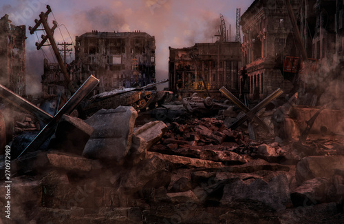 Ruined abandoned city after war battle attack Fototapeta